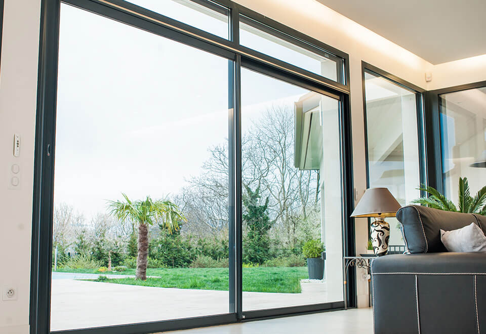 Black aluminium sliding patio door interior view