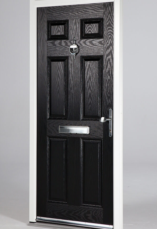 Black composite fire door