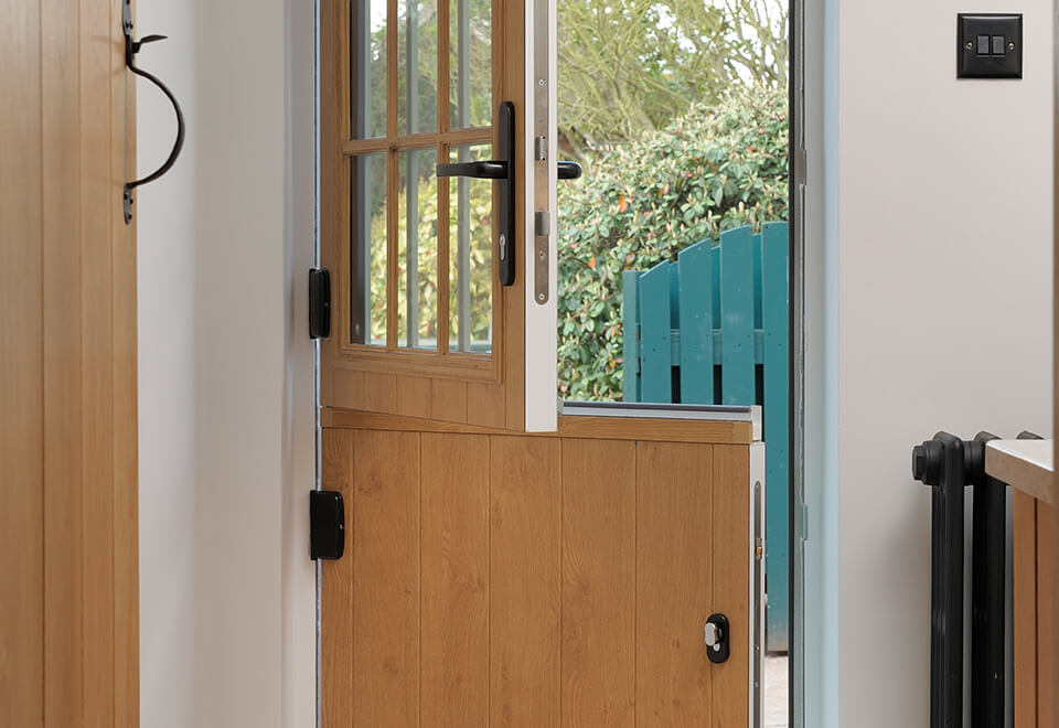 An open dual colour stable door