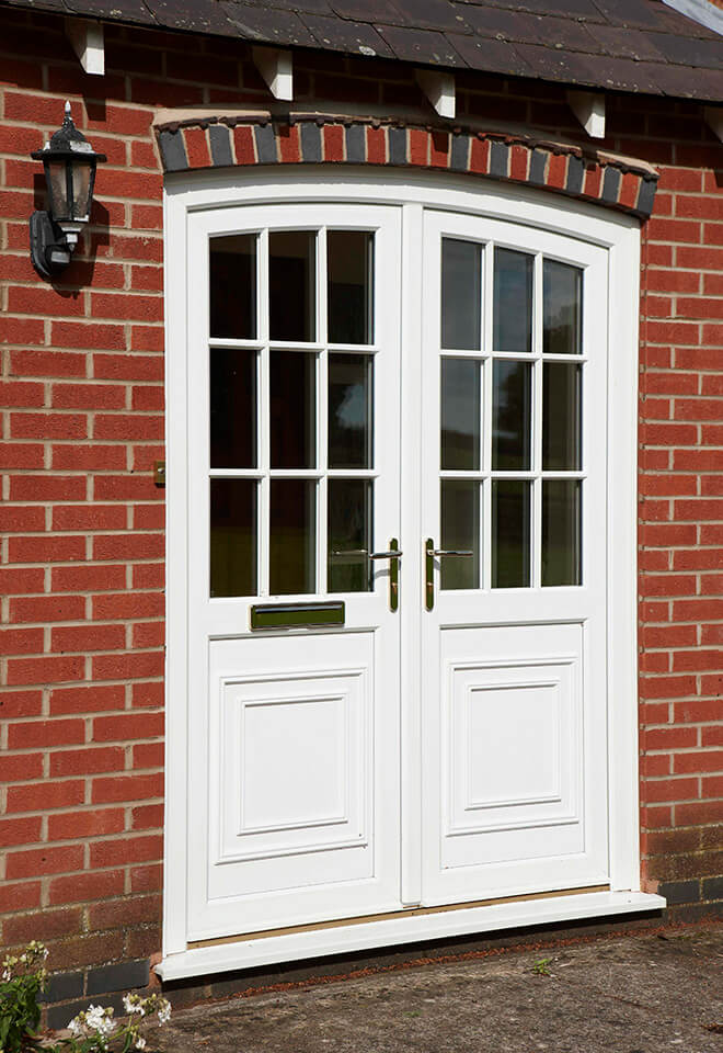 Dual white uPVC entrance doors