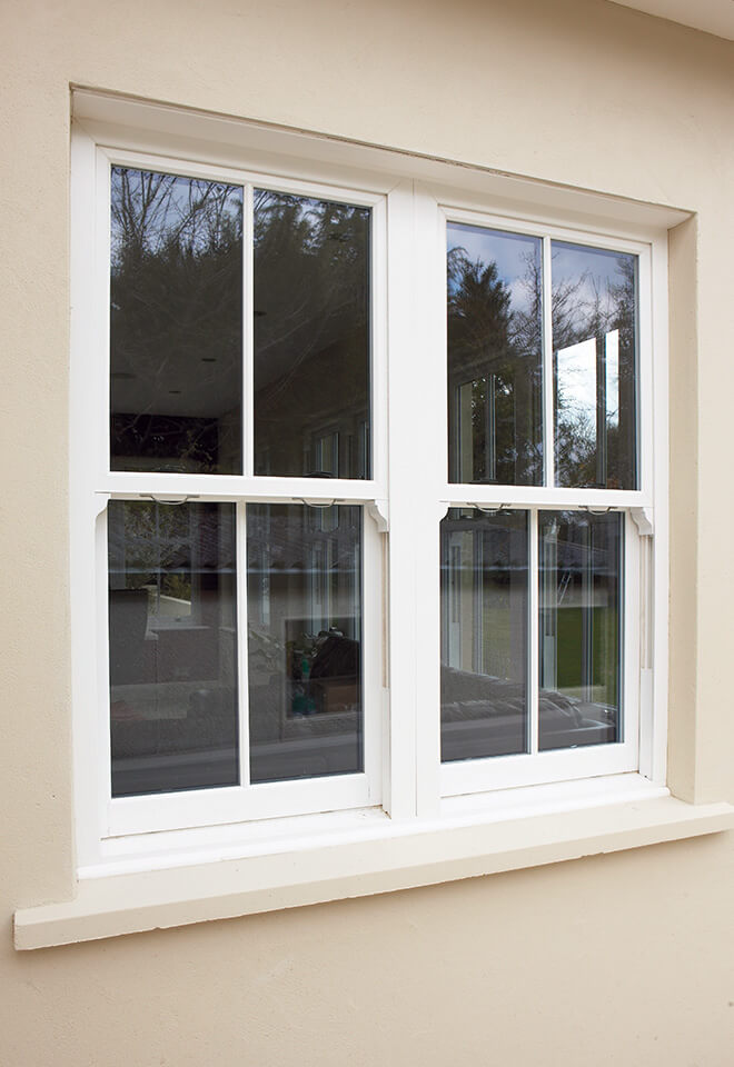 Dual white uPVC sliding sash windows