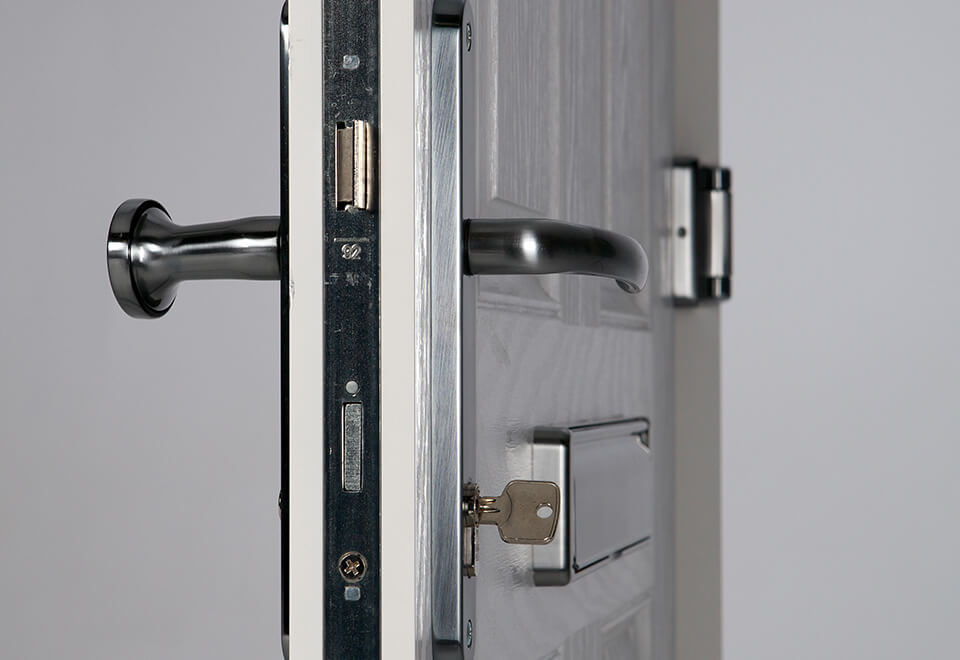 Fire door lock close up