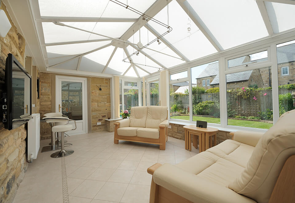 White uPVC Georgian conservatory interior view