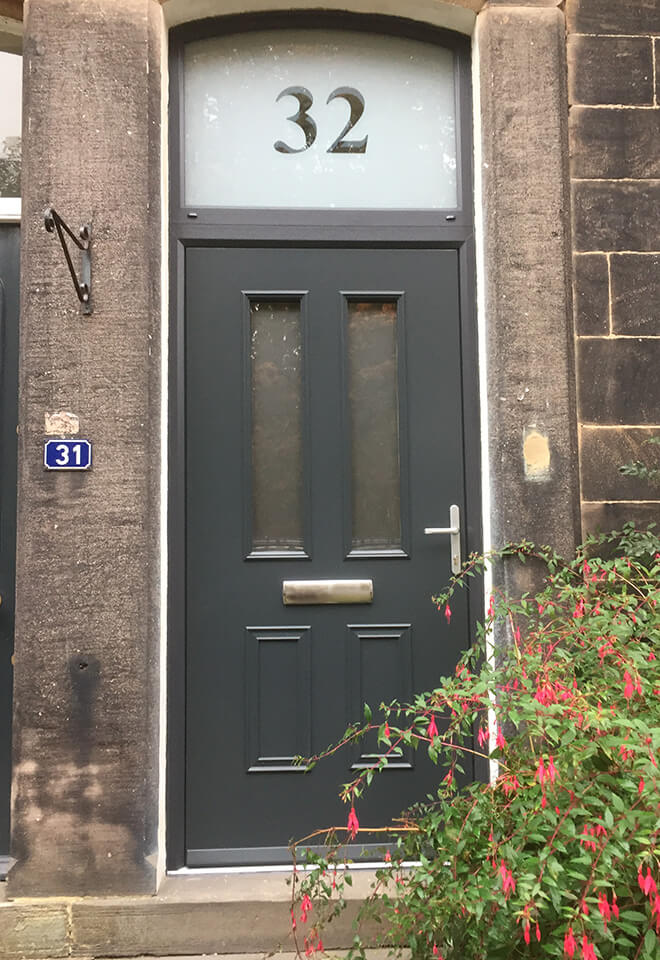 Traditional grey composite entrance door