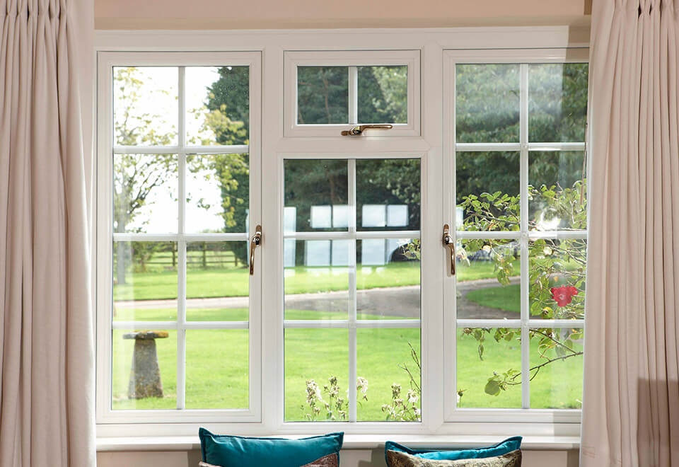 Interior view of a white uPVC casement window