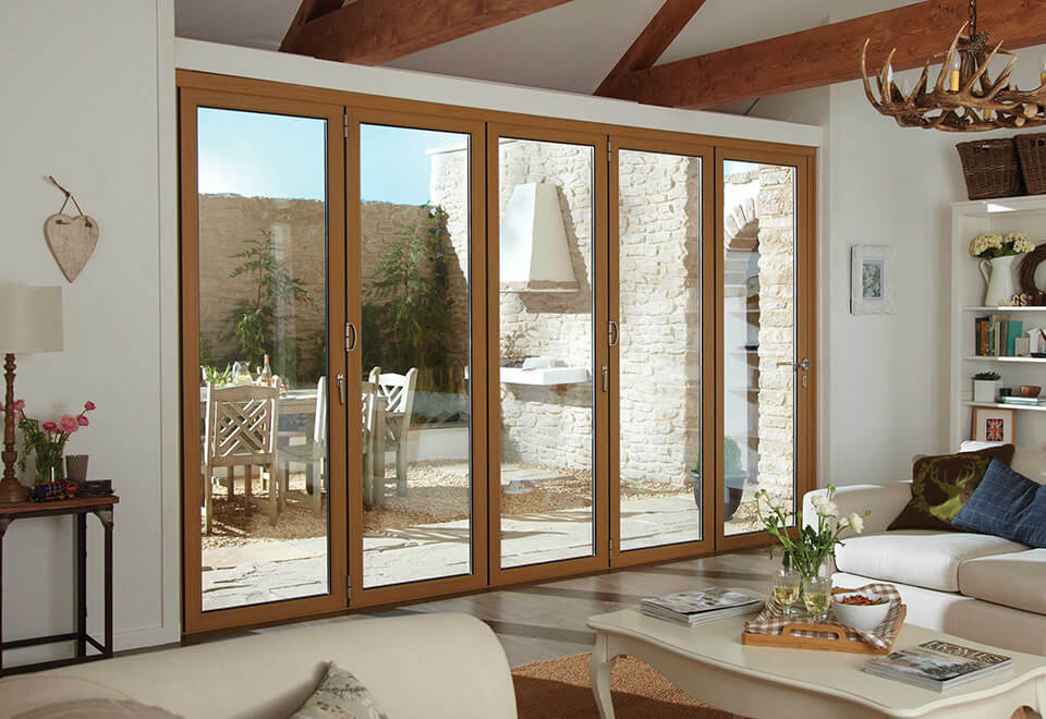 Oak effect aluminium bifold door interior view