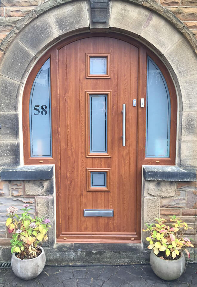 Oak effect composite front door