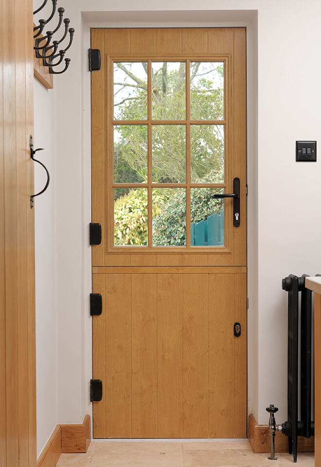 Oak effect stable door interior view
