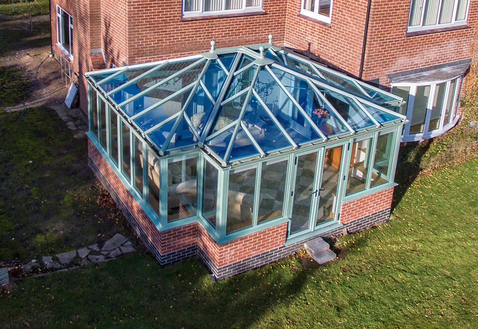 Green T-Shaped uPVC conservatory