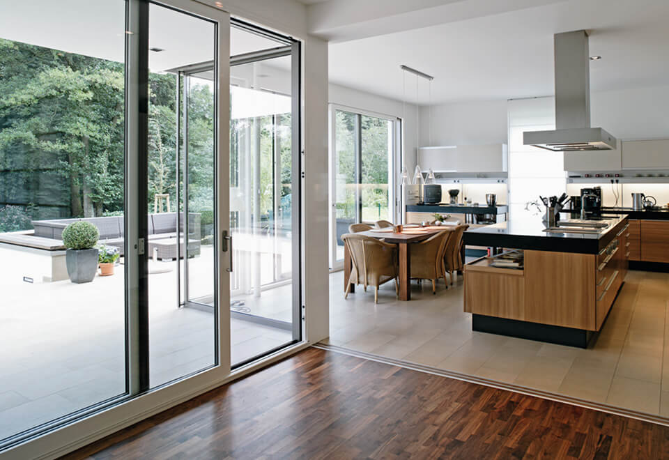 White aluminium sliding doors interior view