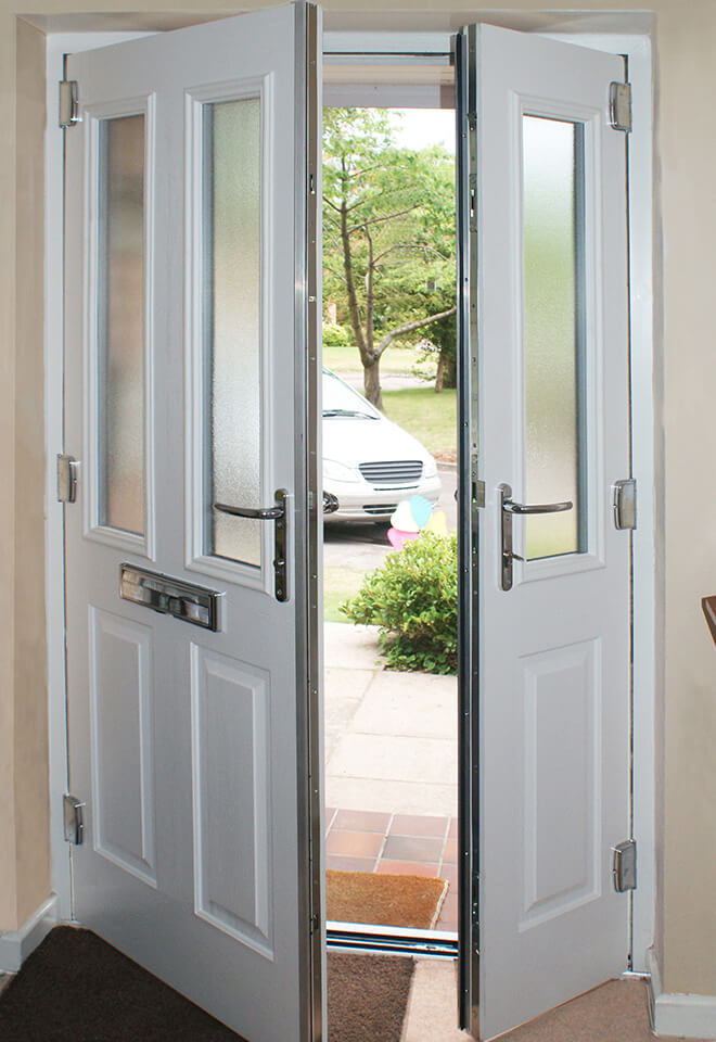 An open white composite door interior view