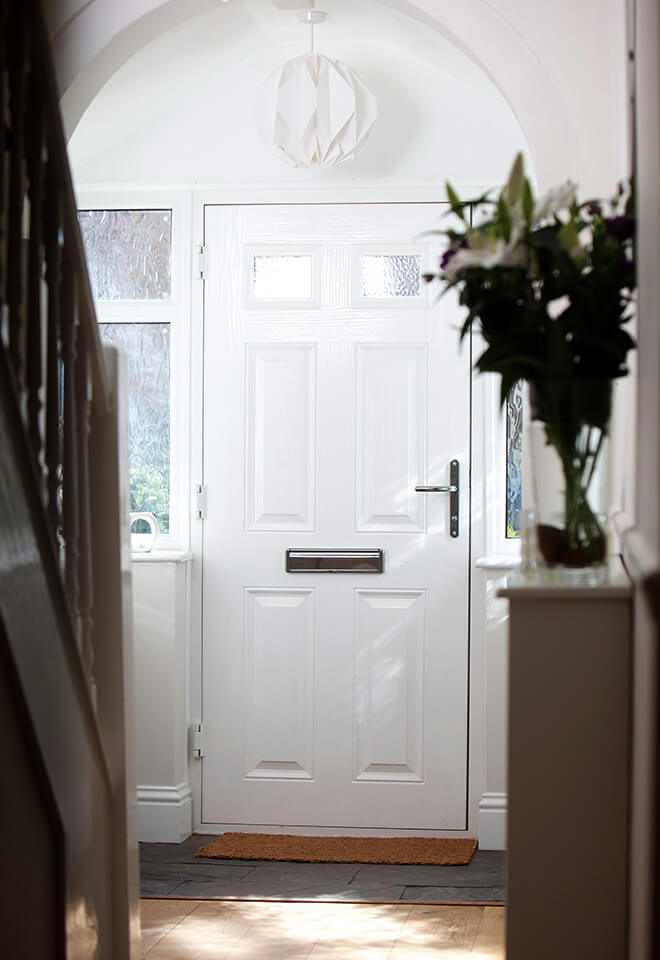 White composite fire door interior view