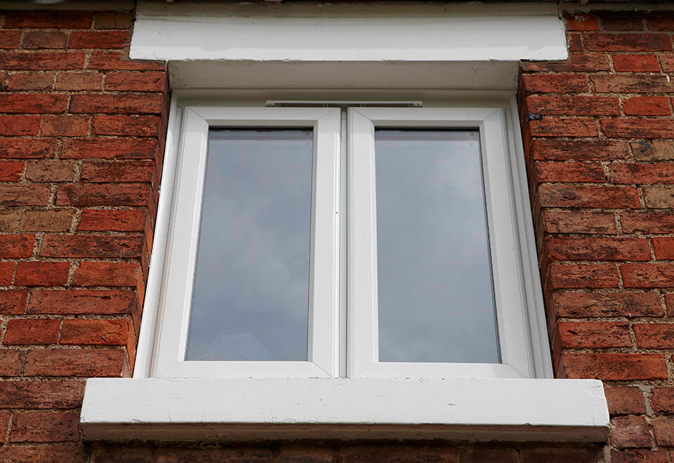 Close up of a white uPVC casement window
