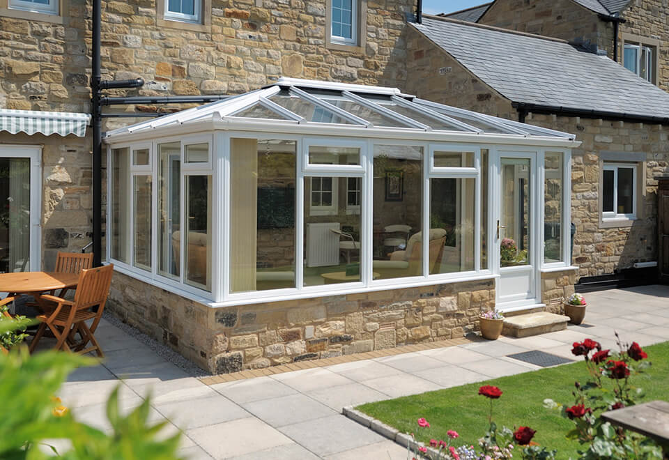 White uPVC Georgian conservatory installation