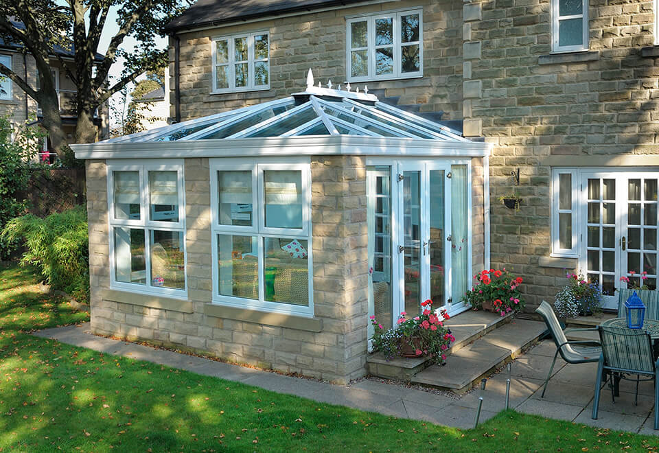 White uPVC orangery installation